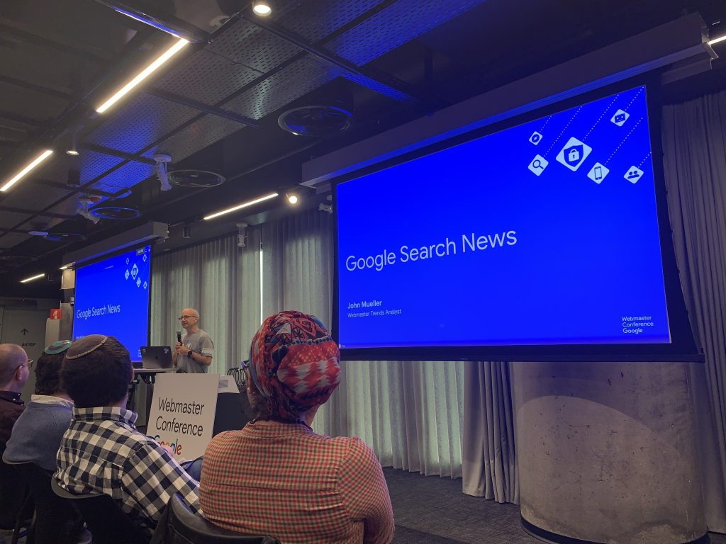 @johnmu starting his presentation at Google Webmasters Conference Tel Aviv