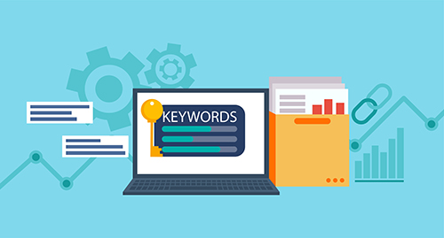 Keywords Research banner. Laptop with a folder of documents and graphs and key.